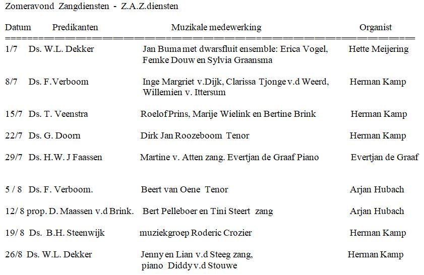 ZAZ diensten 2018  Westerkerk